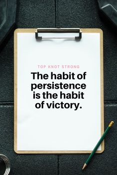 Your habits and being persistent with those will drive your success. Bodybuilding Motivation Quotes, Bikini Competitor, Top Knot, First Time, Knots, Motivational Quotes, Success, High Bun, Motivating Quotes