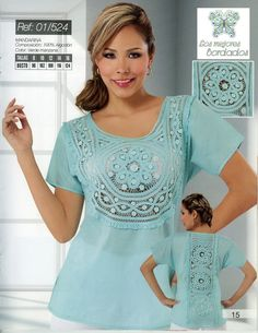 blusas bordadas a mano de cartago valle - Buscar con Google 7th Anniversary, Casual Outfits, Tunic Tops, Plus Size, Turquoise, Boho, Crochet, Lace, How To Make