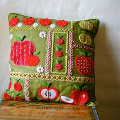 Vintage 60s Mod Pillow Needlepoint Embroidery by blueflowervintage, $24.00