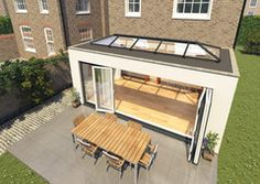 Flat roof extension with skylight & bifolding doors Bungalow Extensions, Garden Room Extensions, House Extensions, Kitchen Extensions, Orangery Roof, Conservatory Roof, Modern Conservatory, House Extension Design, Extension Ideas