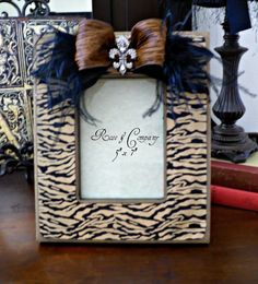 Zebra Picture Frame Distressed Fleur De Lis French Decor Paris. $36.00, via Etsy.