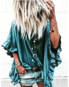 Gorgeous dark Teal Denim top with ruffle sleeves Love!!! Boho Style