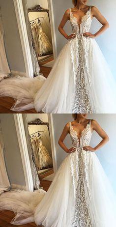 lace wedding dresses long, long lace wedding gowns, vneck wedding gowns, white wedding gowns, 2017 white wedding gowns, bridal gowns for women