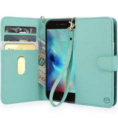 iPhone 6S Plus Case, MP-Mall [Kickstand Function] [Card Slot] Premium PU Leather Folio Flip Wallet Case Cover With Wrist Strap For Apple iPhone 6 Plus / 6S Plus 5.5 Inch (Mint). PREMIUM QUALITY handmade synthetic leather wallet case designed for Apple iPhone 6 Plus / 6S Plus 5.5 inch. 2-IN-1 COMBINATION allowing your phone to act as both a phone case and wallet. CONVENIENT CARD POCKETS allow easy carry of cash and 3 cards (ID, bank cards, credit cards etc.). FLIP STAND feature for...