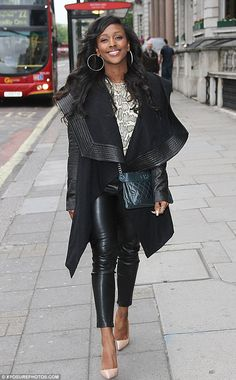 Street style: Alexandra Burke looked stylish as she walked through London on Friday after . Alexandra Burke, Leather Trousers, Skin Tight, Snake Skin, That Look, Friday, Street Style, London, Female