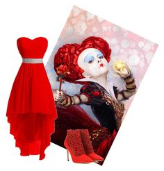 """Queen of hearts"" by hope-in-life ❤ liked on Polyvore featuring Jimmy Choo and DisneyAlice"