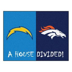 NFL Chargers/Broncos Blue House Divided 2 ft. 10 in. x 3 ft. 9 in. Accent Rug, Blue/Blue