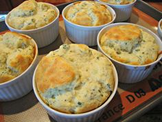 Herbed Cheese Souffles-so light and fluffy, so delicate. And you can make them ahead then bake just before ready to serve.