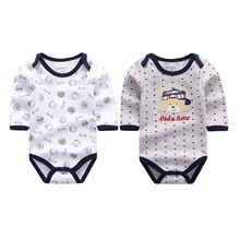 2 Stuks/partij Nieuwe Stijl Baby Rompertjes Lange Mouw Baby Winter Romper Overalls Pasgeboren Kleding Jumpsuit Baby Kleding Set(China)