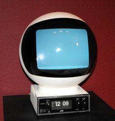 JVC Portable TV | ... found it. 70's JVC Videophere portable TV with flip clock base