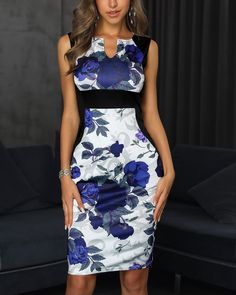 Floral Print Sleeveless Bodycon Pencil Dress Pattern Type:Floral Material:Polyester Neckline:Round N Bodycon Dress With Sleeves, Maxi Dress With Slit, Casual Dresses, Fashion Dresses, Floral Dresses, Maxi Dresses, Elegant Dresses, Fashion Clothes, Party Dresses