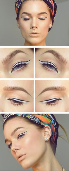 Monochrome eyeliner: I like this but with my coppery eyeliner and black for prom