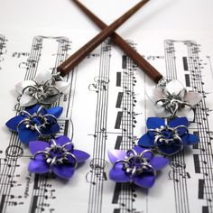 Pair of Twilight Cascade Scale Flowers Hair by UtopiaArmoury, $28.00
