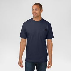 Dickies Big & Tall Cotton Heavyweight Short Sleeve Pocket T-Shirt- Dark Navy 5XL