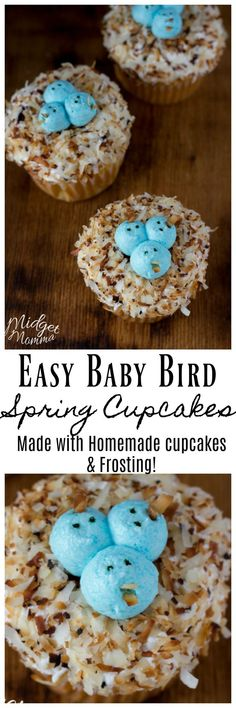 These Spring Cupcakes are perfect for Easter! Bring on the warm weather with these baby bird cupcakes! With toasted coconut, homemade cupcakes and homemade buttercream icing. They are sure to put you in the mood for spring. Spring Cupcakes, Easter Cupcakes, Easter Cookies, Fun Cupcakes, Cupcake Cakes, Coconut Cupcakes, Cupcake Ideas, Easter Recipes, Easter Ideas