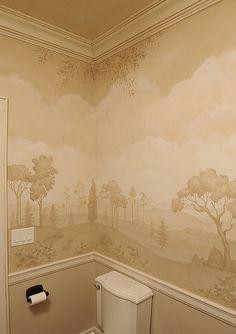 Mural bath using stencils. Beautiful wall stencils by Cutting Edge Stencils. #stencils #CuttingEdgeStencils #bathroom