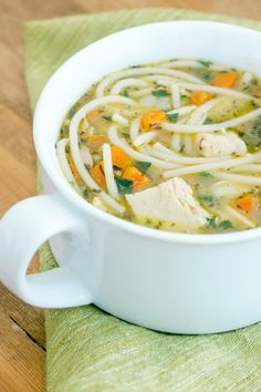 A super quick and easy homemade chicken noodle soup made in the Instant Pot! Love this recipe. 100% real food ingredients, and it's super inexpensive to make. Makes enough for leftovers, too!
