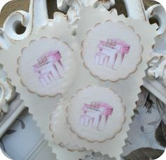Shabby Chic Pink Piano Stickers / Seals  by LittlePaperFarmhouse, $5.95