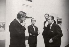 robert motherwell, frank o'hara, rené d'harnoncourt, and nelson rockefeller at the opening of robert motherwell's exhibit at moma, 1965
