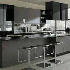moderna cocina en tonos grises y negros con estilo minimalista contraste de acabados brillantes blogspot comideas parakitchen