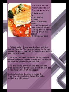 broiled white fish with brown rice & veggies #recipe www.neverstopfitness.com