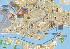 Train station Venezia Santa Lucia water buses with streets overlay Venice top tourist attractions map