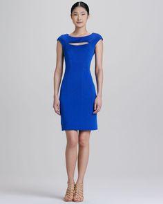 Kay Unger New York Cutout Cap-Sleeve Sheath Dress