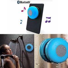 MEMTEQ® Wireless Bluetooth V3.0 + EDR Speaker, Waterproof Shower Speaker, Hand-free Speakerphone with Built-in Mic and Suction Cup - Blue
