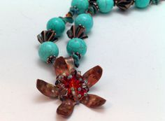 Copper Flower and Turquoise Necklace by iKandiesJewelry on Etsy, $70.00