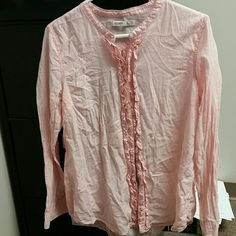 Coral striped button up Super soft worn once great condition button up Old Navy Tops Button Down Shirts