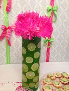 Pink and Green Baby Shower Pink and Green Party Jello and Pink Spider Mums