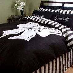 retro styles, beds, duvet covers, luxury bedding, black white, bedrooms, bow, bed skirts, linen