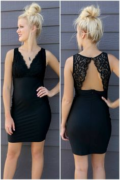 French Kisses Black Deep V-Neck Lace Cocktail Dress - Amazing Lace