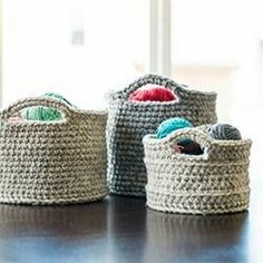 """These crochet baskets of varying sizes are a chic storage solution! Free base patterns via """"Crochet in Color"""" with modifications noted. want to try with """"t-shirt yarn"""" if only I knew how to crochet :) Yarn Projects, Knitting Projects, Crochet Projects, Knitting Patterns, Crochet Patterns, Knitting Supplies, Blanket Patterns, Amigurumi Patterns, Crochet Home"""