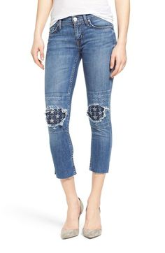 Hudson Jeans 'Muse' Ripped & Repaired Crop Skinny Jeans (Burn Out)