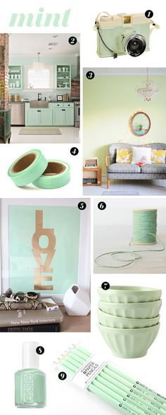 // Love this mint inspiration board from A Pair of Pears