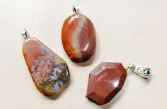 Lot of Gemstone Pendants Fall Colors 32mm to 38mm Ready to Use Jasper #Unbranded