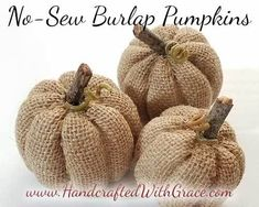 No-Sew Burlap Pumpkins Tutorial. Can't wait to try these out today!No-Sew Burlap Pumpkin - How to make a super cute burlap pumpkin without sewing a stitch.Arts And Crafts Festivals Near Me Burlap Projects, Burlap Crafts, Fall Projects, Diy Crafts, Burlap Fall Decor, Fall Burlap Wreaths, Burlap Decorations, No Sew Projects, Autumn Crafts