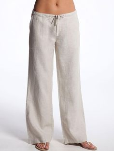 Drawstring White Linen Pants for Women by LittleLilbienen on Etsy, $45.00