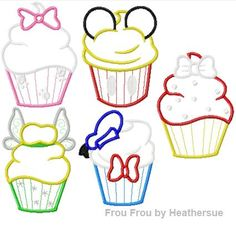 Character Cupcakes FIVE designs SET Machine Applique Embroidery Designs, Multiple sizes including 4 inch
