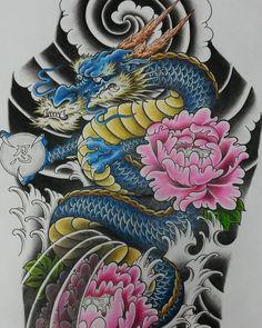 A half sleeve design I did this week. Pencil on paper. #dragon #japanesetattoo…