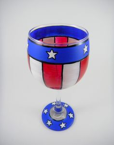 Stars and stripes Hand Painted wine glass by ImpulsiveCreativity, $20.00