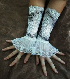 Lace fingerless gloves.