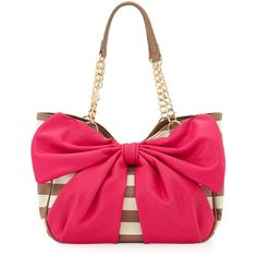 Betsey Johnson Bow Tails Striped Bow Satchel Bag ($72) ❤ liked on Polyvore featuring bags, handbags, spice mult, zipper purse, white satchel, betsey johnson handbags, betsey johnson satchel and white purse