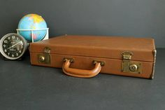 Vintage Brown Briefcase Hardside Attache Small Luggage Tablet