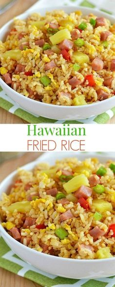 Hawaiian Fried Rice Diced ham, pineapple and bell pepper tossed together to create the yummiest fried rice ever! Hawaiian Fried Rice, Hawaiian Dishes, Hawaiian Recipes, Pineapple Fried Rice, Hawaiin Food, Hawaiian Theme, Hawiian Party Food, Hawaiian Luau Food, Risotto