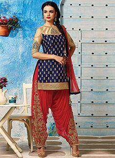 Navy Blue Art Dupion Silk Patiala Suit