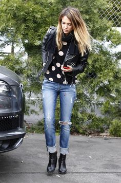 really like this look... im a huge fan of leather jackets and cant leave my combat boots alone! cute jean and like the big print polka dots.