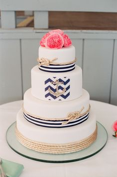 Rope. anchor. chevron cake. Delicious Desserts. Photography: Ruth Eileen - rutheileenphotography.com