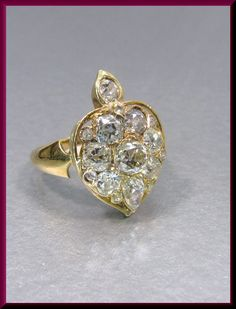 Antique Vintage Victorian 18K Yellow Gold Old Mine Cut Diamond Heart Cocktail Ring Statement Ring by AntiqueJewelryNyc on Etsy